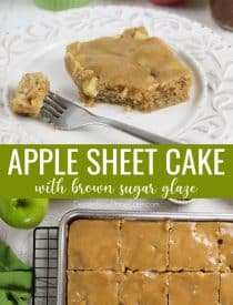 This easy apple sheet cake is made with fresh apples + apple butter for maximum apple flavor. It's soft, velvety, moist, full of cinnamon, and topped with a brown sugar glaze. A great fall dessert that serves a crowd.