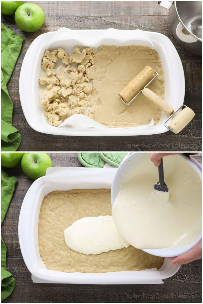 Collage Photo. Rolling crust into pan (top). Pouring cheesecake onto cooked crust (bottom).