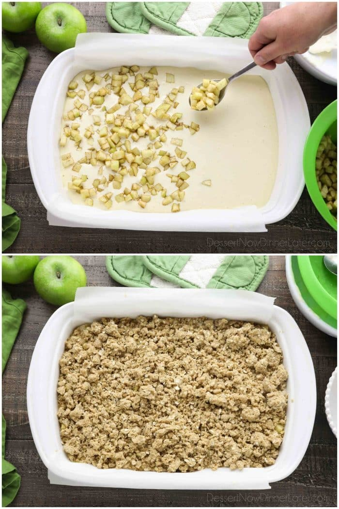 Collage photo. Dolloping diced apples with a spoon into cheesecake batter (top). Streusel topping (bottom).