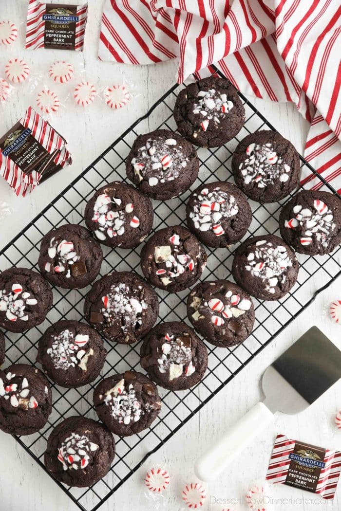 Cooling rack full of chocolate peppermint cookies.