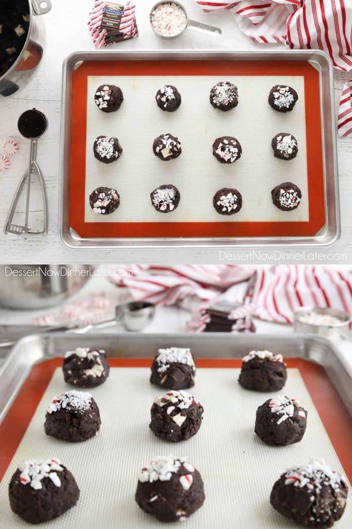 Collage Image: Top view of chocolate peppermint cookie dough on baking tray with crushed peppermint candy on top. (Top image) Side view of prepared chocolate cookie dough balls on tray with crushed peppermint candy cane on top. (Bottom image)
