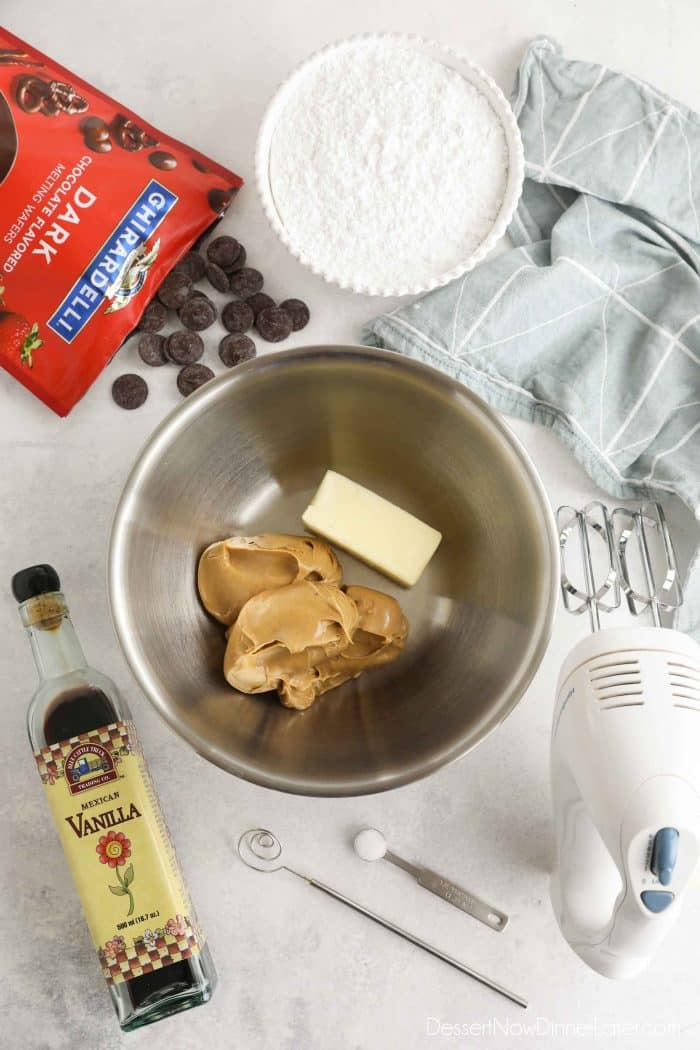 Chocolate Peanut Butter Balls ingredients.