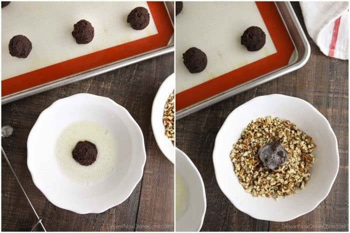 Collage image. Cookie dough ball in bowl of whisked egg whites (left). Cookie coated with egg whites in bowl of chopped pecans (right).