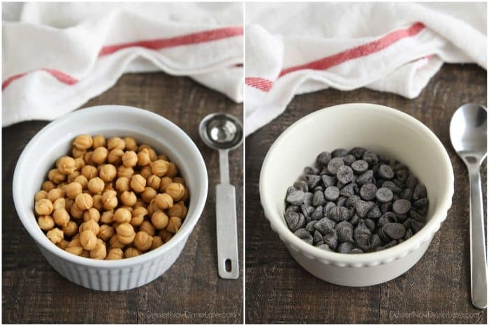 Collage image. Bowl of caramel bits (left). Bowl of chocolate chips (right).