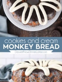 Pinterest collage image for Cookies and Cream Monkey Bread with two images and text in the center.