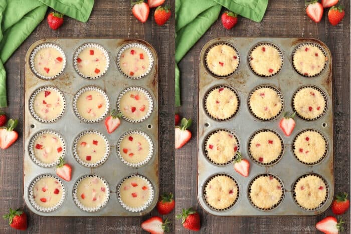 Before and after baking strawberry cupcakes in the tin.