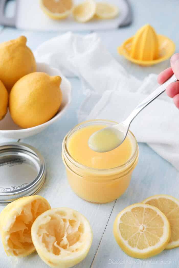 Homemade Lemon Curd on a spoon.