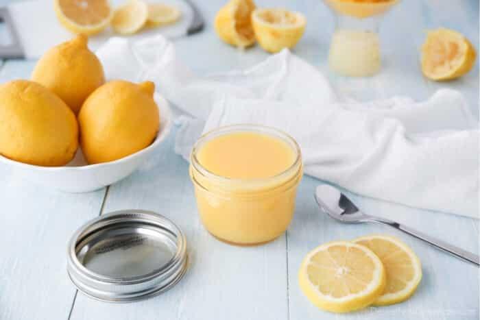 Homemade lemon curd in a mason jar.