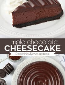 Pinterest collage image for Triple Chocolate Cheesecake with two images and text in the center.
