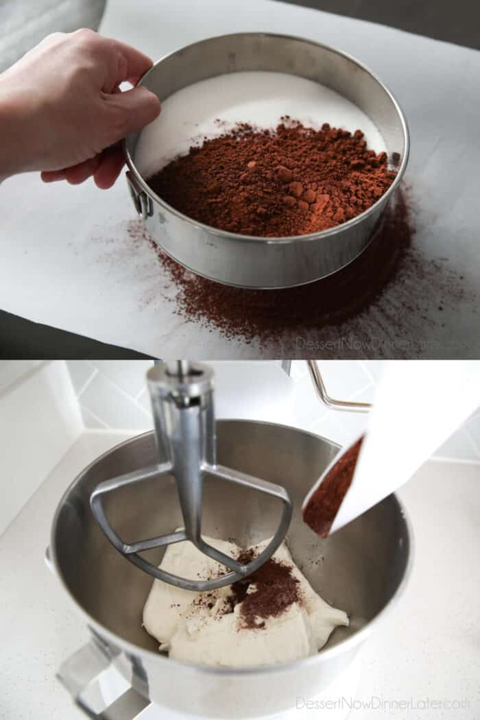 Sifting sugar, cocoa powder, and salt onto parchment paper. Then lifting the parchment paper and pouring ingredients into mixer.