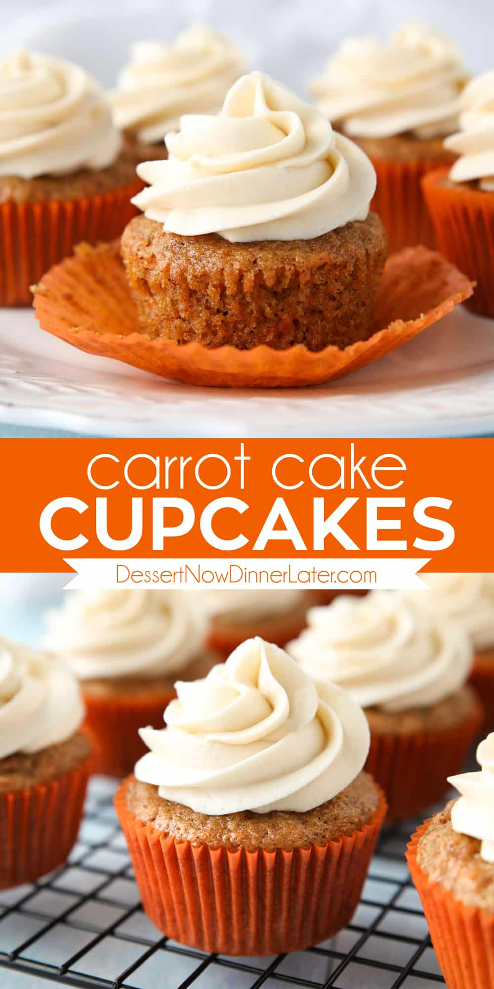 Pinterest collage image for Carrot Cake Cupcakes with two images and text in the center.