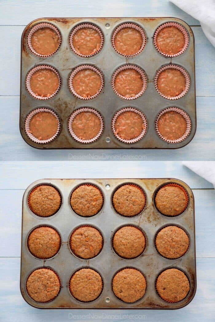 Carrot cake cupcakes before and after baking in a cupcake pan.