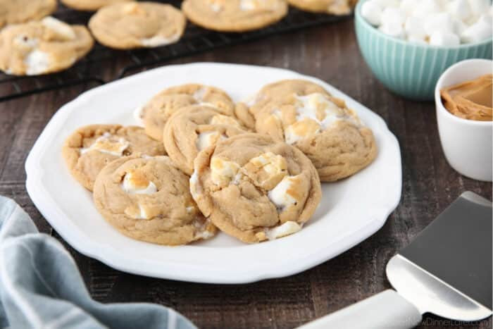 Peanut butter marshmallow cookies on a plate.