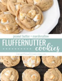 Pinterest collage image for Fluffernutter Cookies with two images and text in the center.