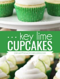 Pinterest collage image for Key Lime Cupcakes with two images and text in the center.