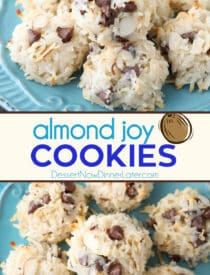 Pinterest collage image for Almond Joy Cookies. Two images with text in the center.