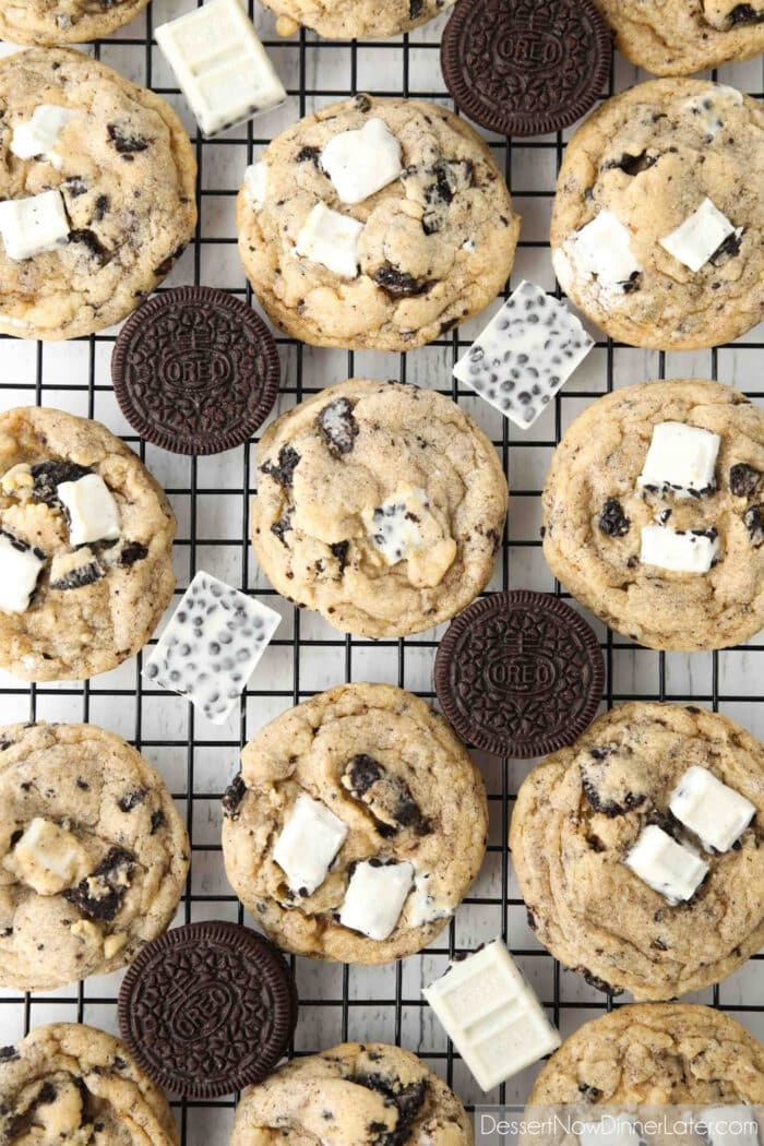 Cooling rack with baked cookies, Oreos, and cookies & cream candy bars.