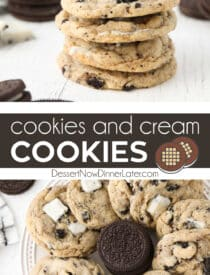 Pinterest collage image for Cookies and Cream Cookies with text in the center of two close-up images.