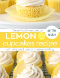 Pinterest collage image for Lemon Cupcakes Recipe with whipped cream cheese frosting. Two images with text in the center.