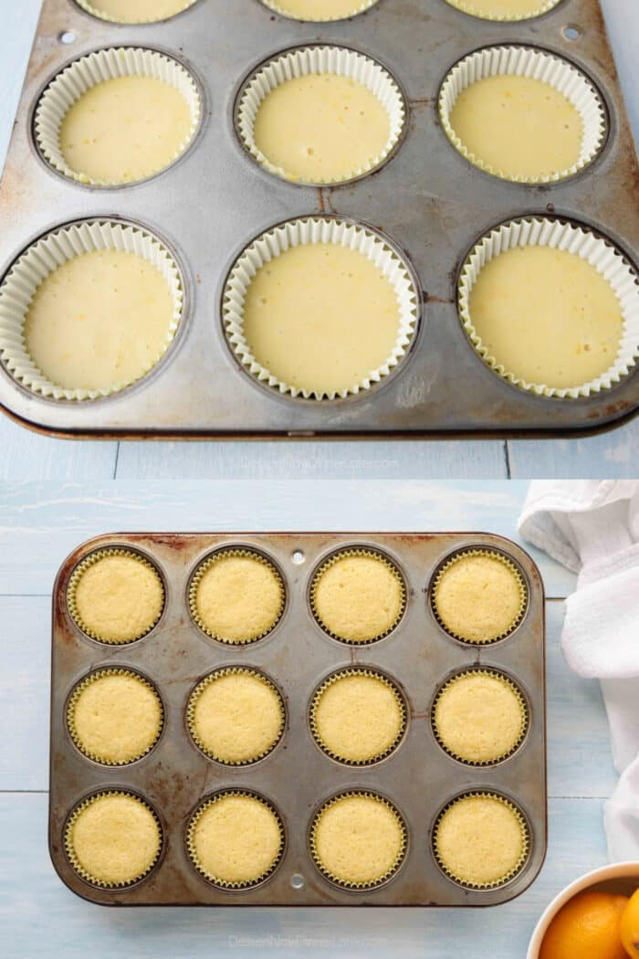 Cupcake tin with paper liners and lemon cupcake batter before and after baking.