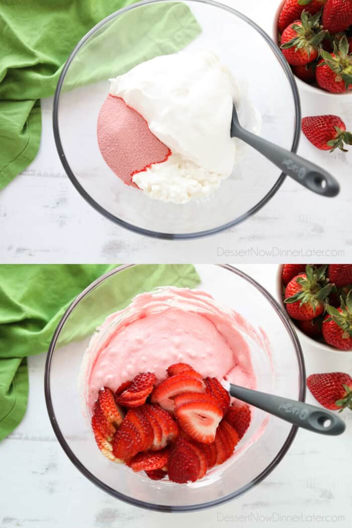 Collage image for how to make strawberry fluff. Top image: Jello, whipped topping, and cottage cheese in bowl. Bottom image: Ingredients mixed with sliced strawberries added.