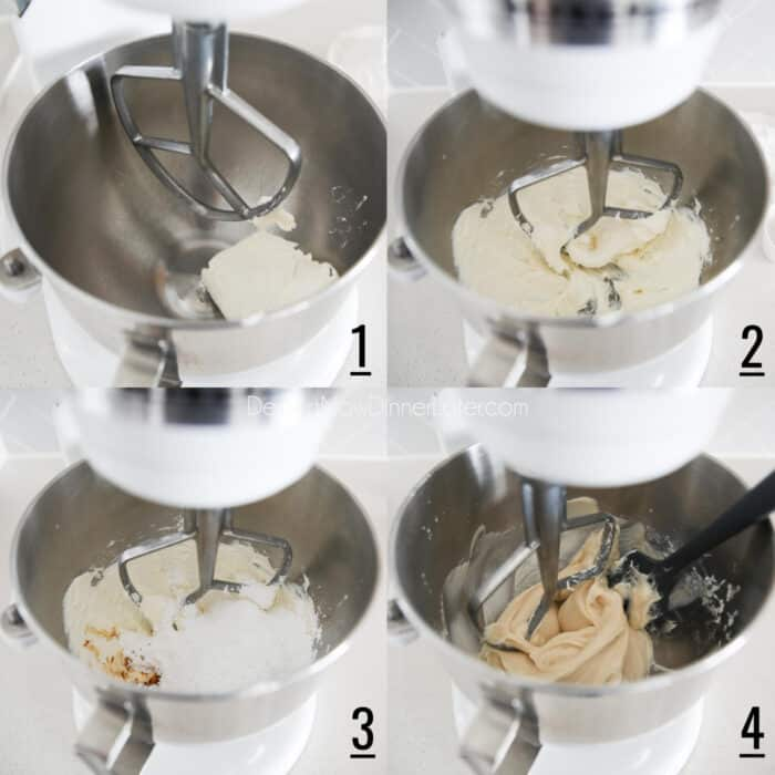 One Bowl Whipped Cream Cheese Frosting steps 1-4. Four image collage. 1- Brick of cream cheese in stand mixer with paddle attachment. 2- Cream cheese mixed. 3- Powdered sugar, salt, and vanilla added. 4- Ingredients mixed and bowl scraped with a spatula.