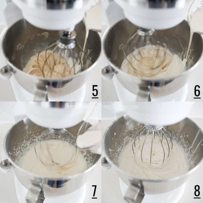 One Bowl Whipped Cream Cheese Frosting steps 5-8. Four picture collage. 5- Switch to whisk attachment. Slowly pouring cream while mixing. 6- Slowly pouring more cream while mixing. 7- Progress of adding cream while mixing. 8- Finished whipped cream cheese frosting.