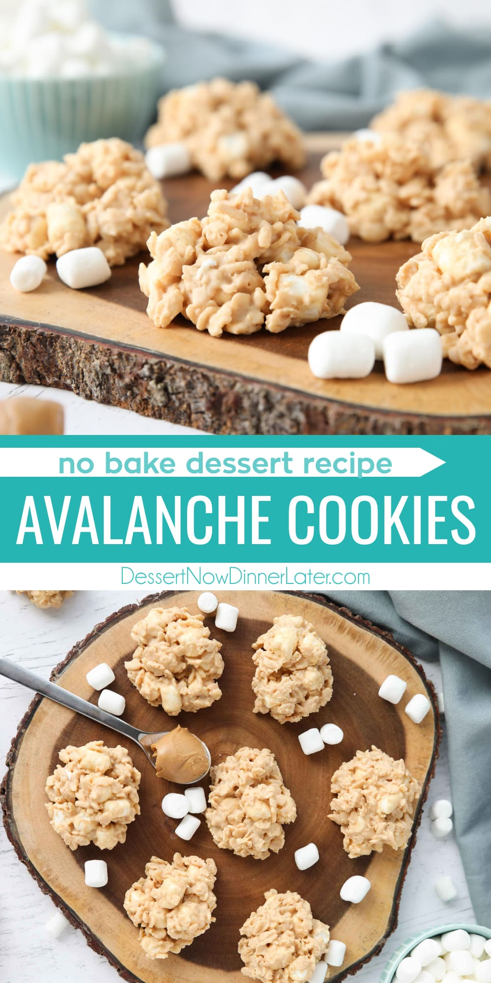 Pinterest collage image for Avalanche Cookies with two images and text in the center.