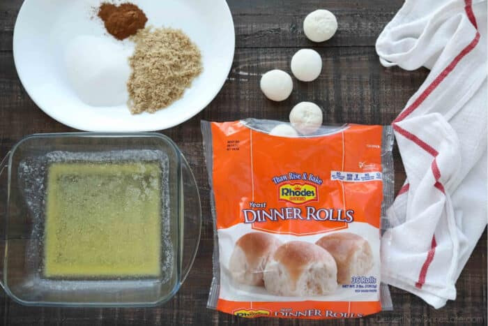 Ingredients for Cinnamon Twists: Rhodes Rolls, melted butter, sugar, brown sugar, and cinnamon.