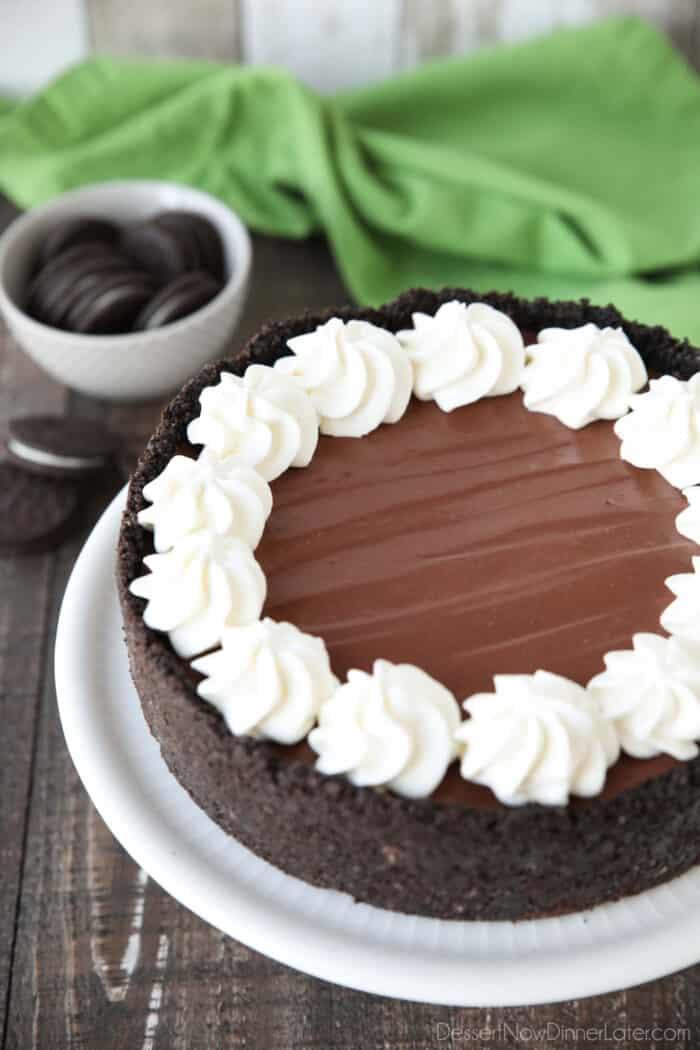 Whole no-bake chocolate cheesecake with an Oreo crust.