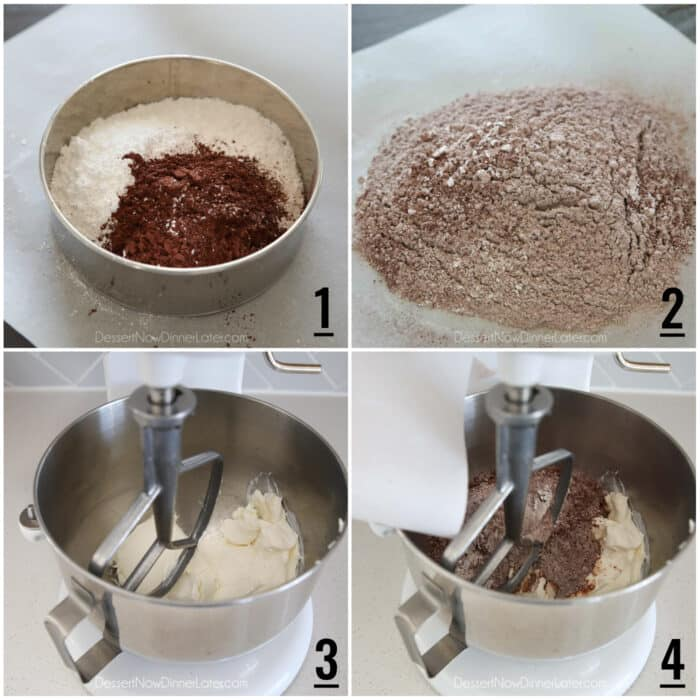Four image collage. 1- Powdered sugar and cocoa powder in fine mesh sieve. 2- Sifted ingredients on parchment paper. 3- Stand mixer with cream cheese. 4. Stand mixer with cream cheese and cocoa mixture being poured on top.