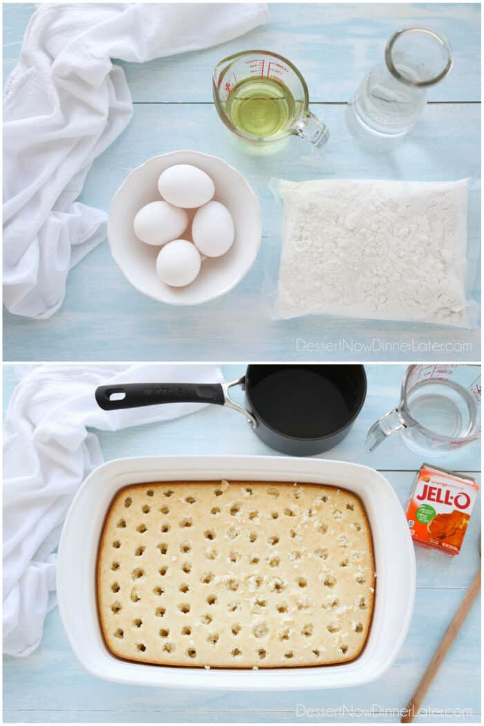 Two image collage. Top: Ingredients. White cake mix, eggs, oil, water. Bottom: Baked cake with holes poked into it, next to a saucepan, glass measuring cup with water, and a box of orange jello mix.