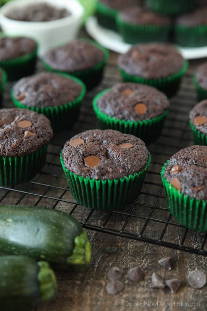 Cooling wrack with double chocolate zucchini muffins.