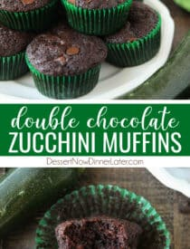 Pinterest collage image for Chocolate Zucchini Muffins with two images and text in the center.