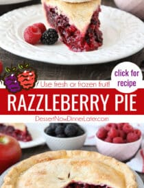 Pinterest collage image for Razzleberry Pie with two images and text in the center.