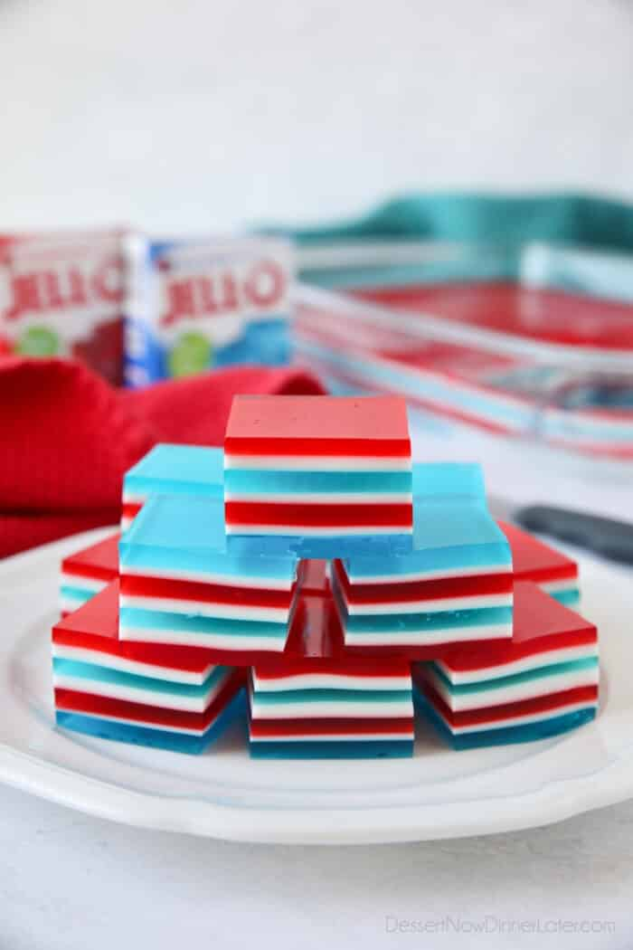 Red, white, and blue finger jello on a plate.