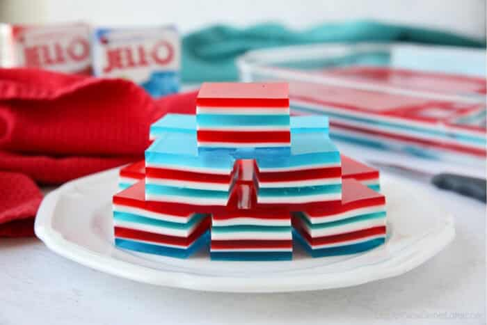 Patriotic jello with red, white, and blue layers.