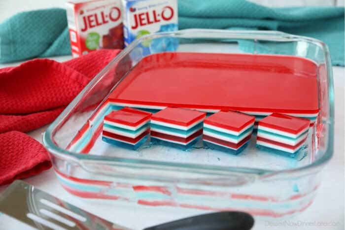 Patriotic jello with red, white, and blue colors in a 13x9 dish.