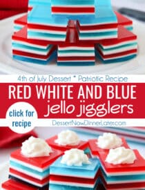 Pinterest collage image for Red White and Blue Jello with two images and text in the center.