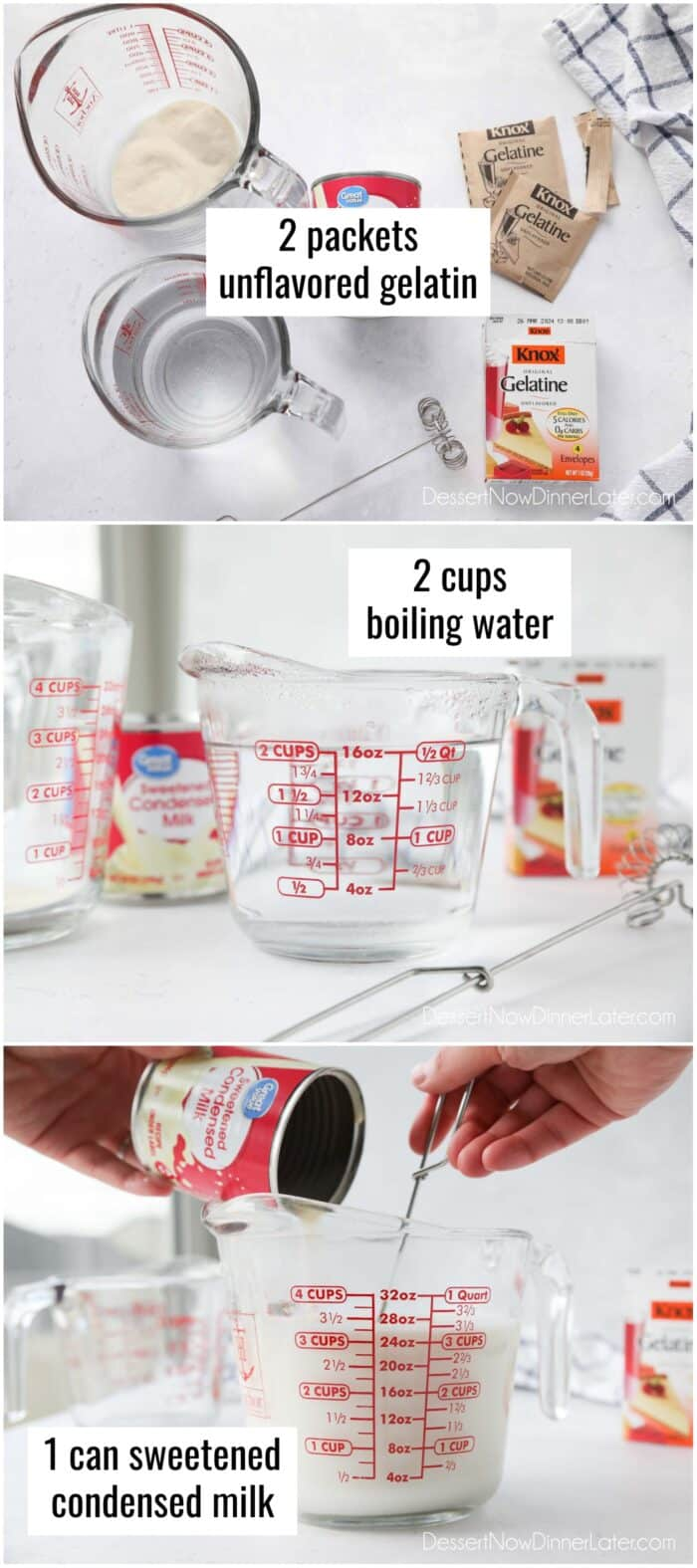 White Layer: Mix 2 packets of unflavored gelatin with 2 cups of boiling water and 1 can of sweetened condensed milk.