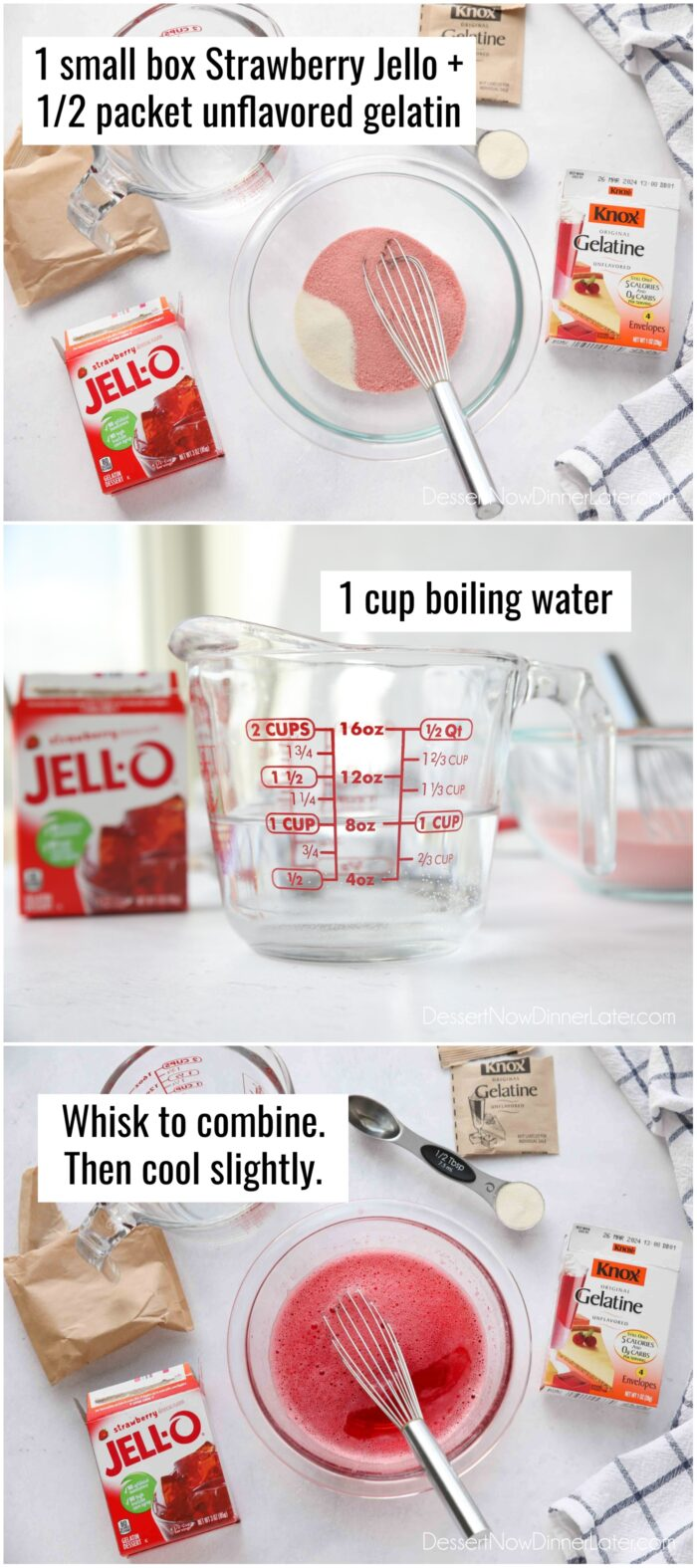 Red Layer: Mix one box strawberry jello with half a packet of unflavored gelatin, and 1 cup boiling water.