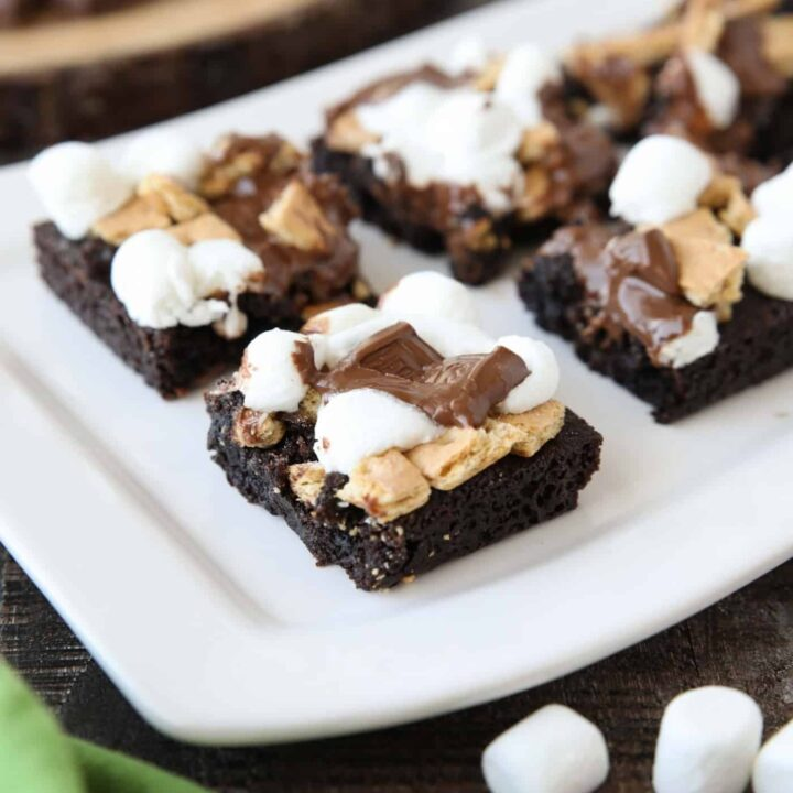 Close up of S'mores Brownies on a platter.