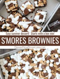 Pinterest collage image for S'mores Brownies with two images and text in the center.