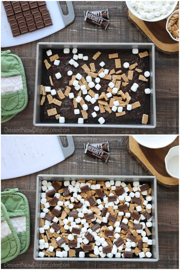 Two image collage. Top image: Baked brownies with some graham cracker pieces and mini marshmallows. Bottom image: Baked brownies completely covered with marshmallows, graham crackers, and chocolate bar pieces.