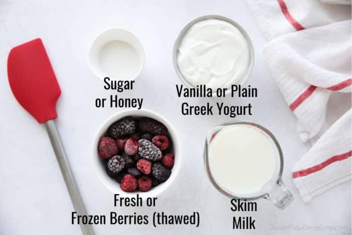 Ingredients for Berry Frozen Yogurt: Sugar, Fat-Free Vanilla Greek Yogurt, Berries, and Skim Milk.