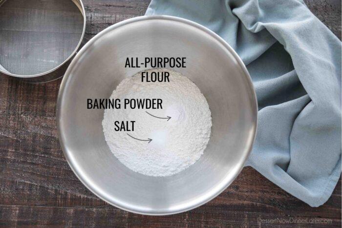 Dry Ingredients for Oreo Cupcakes: All-purpose Flour, Baking Powder, Salt.