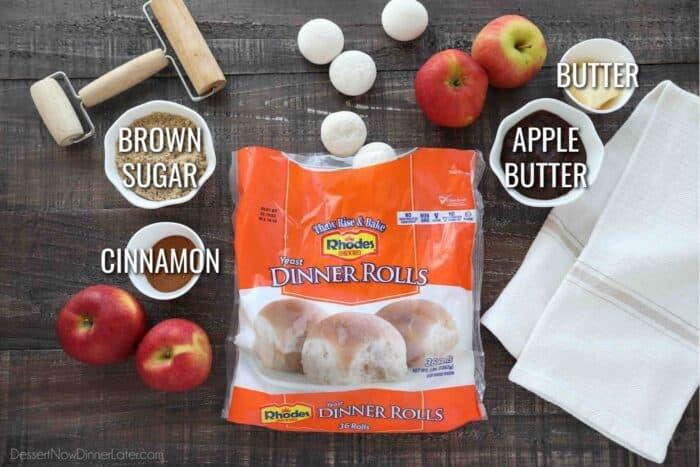 Ingredients for Apple Butter Cinnamon Rolls: Rhodes Yeast Dinner Rolls, Butter, Apple Butter, Brown Sugar, and Cinnamon.