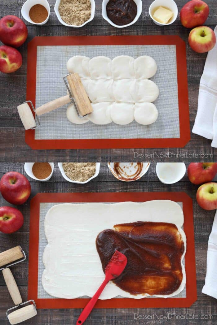 Collage image for how to make apple butter cinnamon rolls: Thaw Rhodes Rolls. Use a rolling pin to roll dough into a large rectangle. Spread a thin layer of softened butter over all but 2-inches. Repeat with apple butter on top of the butter layer.