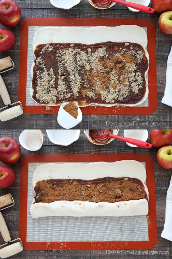 Collage image for how to make apple butter cinnamon rolls: Sprinkle brown sugar and cinnamon over the apple butter. Roll the dough into a log from the long end with the filling towards the long end that was left bare. Pinch seams together.