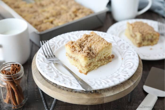 Plate of streusel topped cake with a fork on the side.